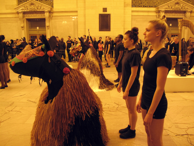 Nick Cave transforms Grand Central Terminal with a herd of thirty colorful life-size horses.