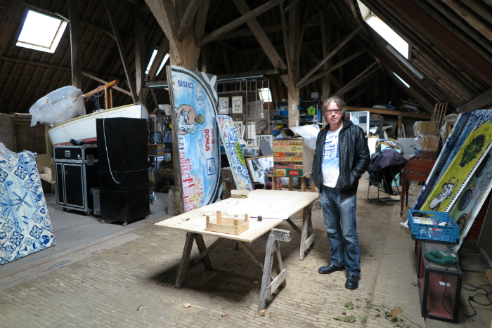 Stencil King Hugo Kaagman at his family farm studio in Friesland, The Netherlands.
